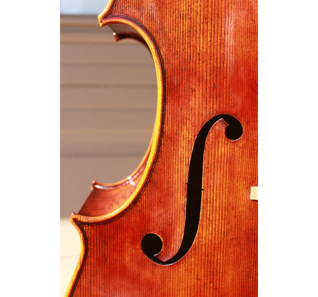Top view of Goffriller model cello by Mark Moreland